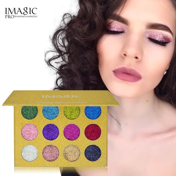 IMAGIC New 12 Color Palette Makeup Glitter Paint Eye Shadow Waterproof Cosmetics Glitter Eye Shadows Magnet Palette Fast Drop Shipping