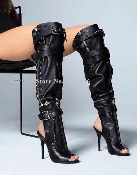 Black Leather Buckles Peep Toe Gladiator Sandals Boots Woman Zipper Decor Over the knee long Boots Sexy Night Club Party Shoes
