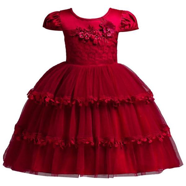 Cute Layer Cupcake Tutu Flower Girl Dresses Princess A Line Appliques kids Pageant Dress Wedding First Communion Dresses MC1877