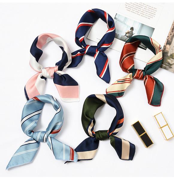 Neuer eleganter Frauen-Quadrat-Silk Kopf-Ansatz-Satin-Schal-dünner Retro- Haar-Riegel-Band-kleiner Mode-Quadrat-Schal 40 Farben C6027