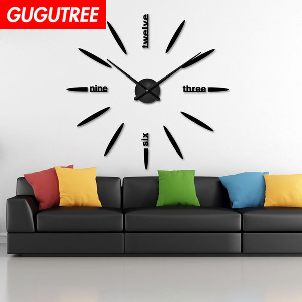 Decorate Home 3D number mirror clock art wall sticker decoration Decals mural painting Removable Decor Wallpaper G-43