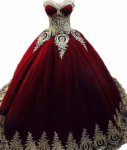 Burgundy Quinceanera Dresses 2019 Modest Sweet 16 Ball Gown Pleats Sweet-heart Prom Gowns Tulle Corset Back Birthday Party Vestidos De 15
