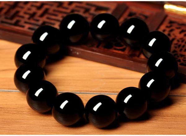Negro puro oro negro brazalete de obsidiana, estilo de los hombres y de las mujeres, cristal natural, granos de Buda, strin mano