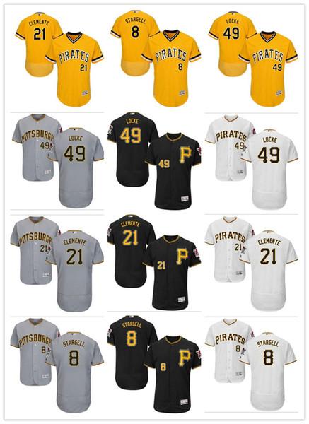 на заказ Мужчины Женщины Молодежь Пираты Джерси # 49 Джефф Локк 21 Роберто Клементе 8 Вилли Старджелл Черный Желтый Серый Бейсбол Трикотажные изделия