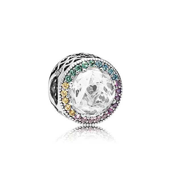 925 Sterling Silver Charms Logo Original box for Pandora Color Crytal Diamond Bracelet Charms European Beads for jewelry making