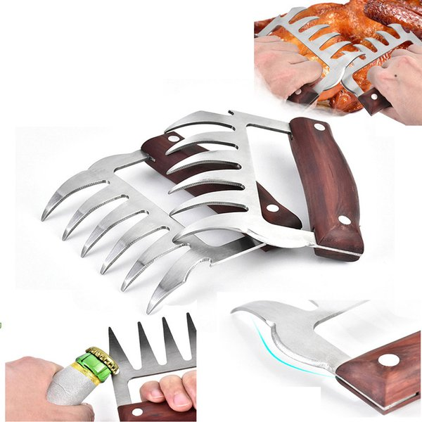 Stainless steel Grizzly Bear Paws Meat Claws Handler Fork Tongs Pull Shred Pork BBQ Barbecue Tools Multi Meat claw with opener wood handle