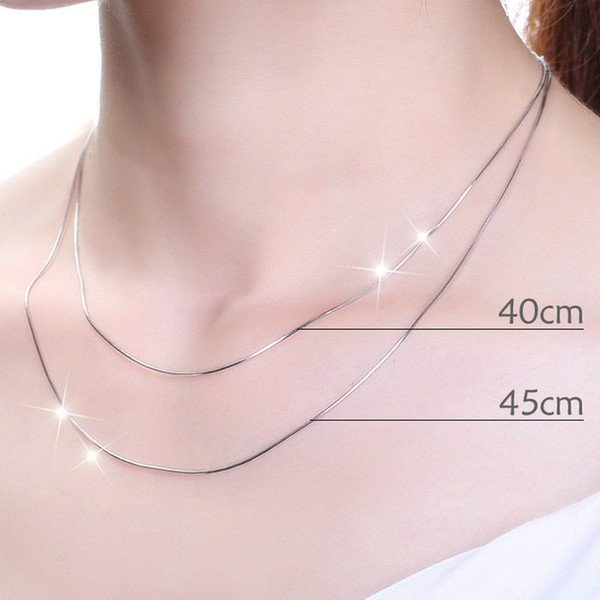 925 Real Sterling Silver Snake bone Chain Necklace Chains Fine Jewelry 0.7mm,1.8g 18 inch