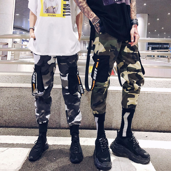 Toptan 2019 Erkekler Yüksek Sokak Camo Şerit Pantolon Pantolon Sweatpants Erkek Rahat Moda Hip Hop Streetwear Kalem Pantolon