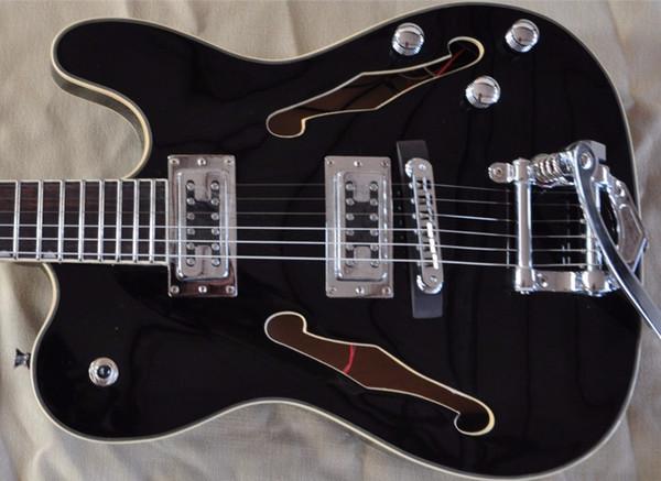 frete grátis, FIREHAWK HOT duplo F buraco TELE JAZZ guitarra elétrica personalizado oco corpo guitarra TL preto, Fábrica de vendas diretas,