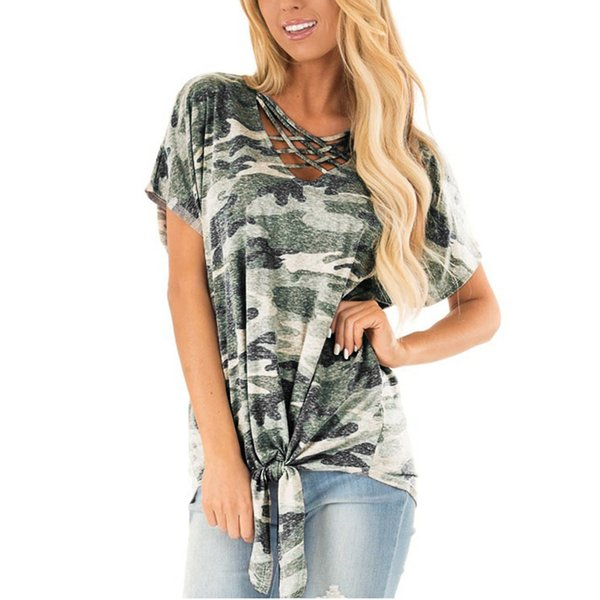 MUQGEW Female Camouflage Printed T-Shirt Mid-length Shirt Loose V-Neck Top T-shirts For Women camisetas verano mujer 2019 #6030