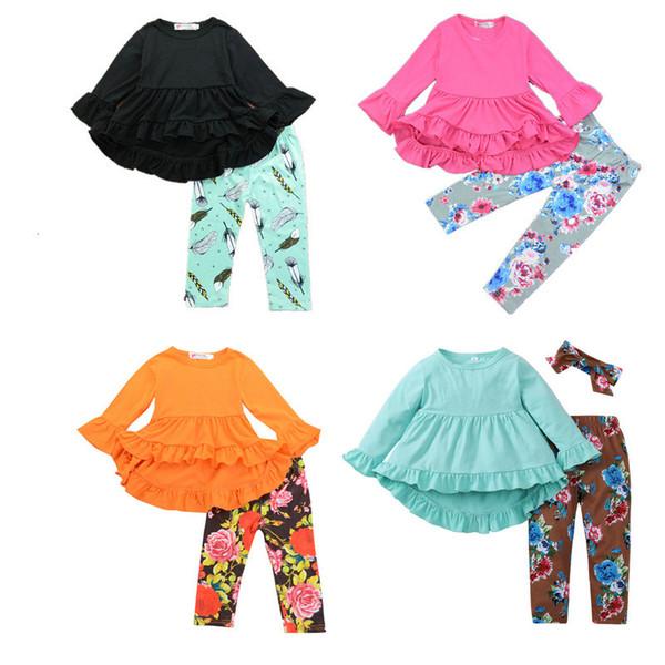 Perakende Kızlar uzun kollu çiçek baskılı kıyafetler 2 adet takım elbise set (Düzensiz fırfır üst + çiçek pantolon) çocuklar giysi tasarımcısı giysi eşofman setleri