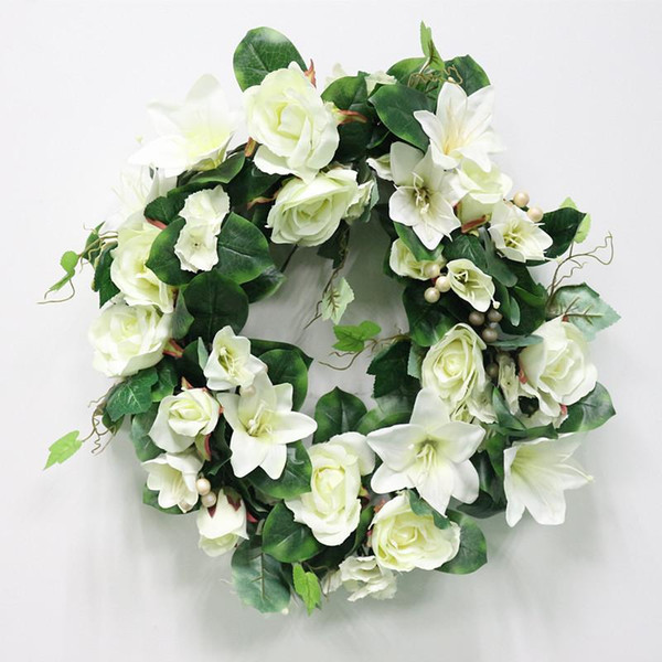 Wholesale Diy Wedding Artificial Flower Rose Lily Green Leaves Simulation Cane Adornment Garland Wall Party Decor Vine Lintel Flower
