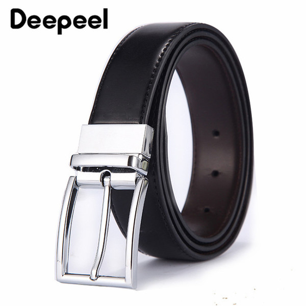Deepeel 1pc 3.3*110-125cm Men Rotating Pin Buckle Belt Men's Business Casual Double-sided Use Leather Craft Belt for Gift BD541