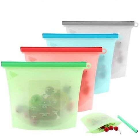 Reutilizável Silicone Food Preservation saco de vácuo aferidor Bags Frigorífico Food Storage Container Congelamento Aquecimento Para Kitchen Fresh Food Bag