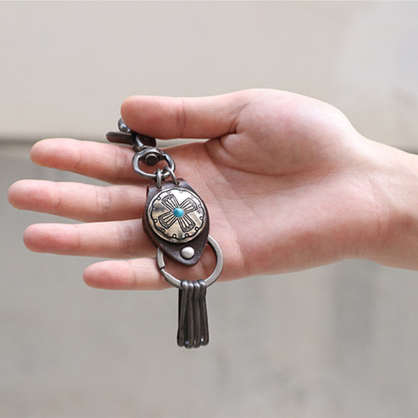 Leather Handmade Designer Keychain Cross Buckle Clip Hook Key Rings Fit Key Chains Holder Car Keyring Jewelry Accessories