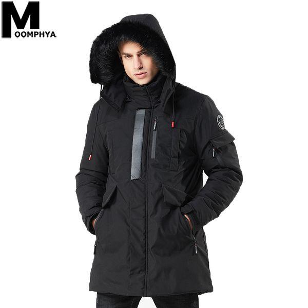 Moomphya Men Clothes 2019 Hooded Warm Badge Men Parka Streetwear Long Style Winter Jacket Windbreaker Men's Coat Outwear