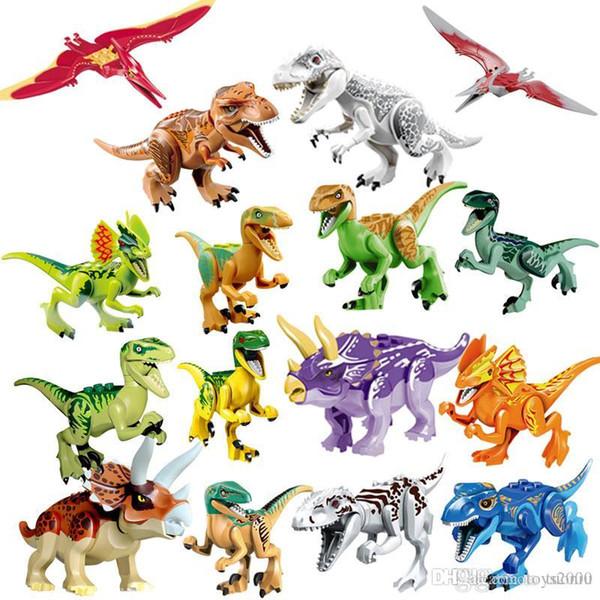 Юрский мир динозавры блок головоломка игрушка Тираннозавр Рекс птерозавр трицератопс строительные блоки игрушки для детей Развивающие игрушки
