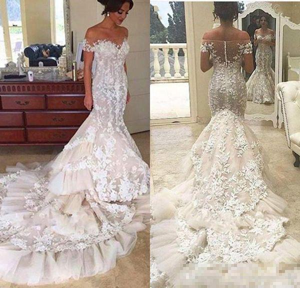 2018 Bateau Neck Sheer Mermaid Wedding Dresses Tiers Lace Beach Garden Country Applique Bridal Gown Arabic Train Bride Dress Custom Cheap Lace Wedding