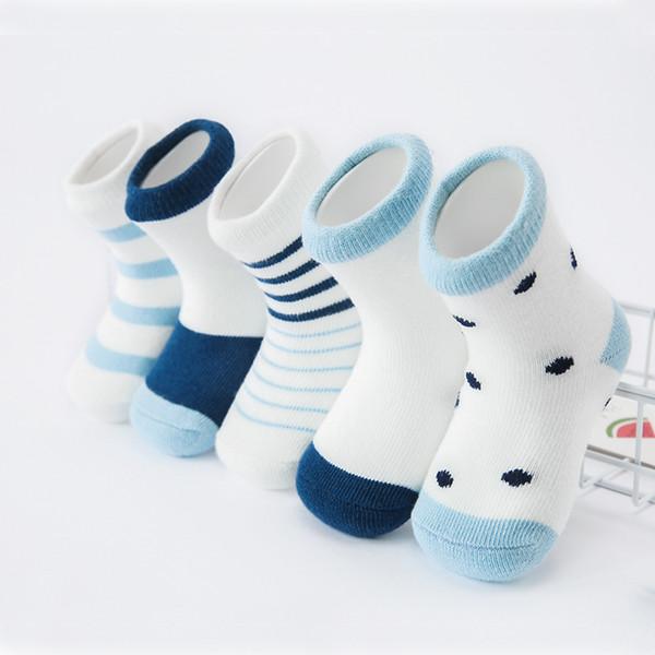 Acheter Bébé Garçon Rayures Dot Chaussettes Doux Coton Pur Infant Chaussettes Joli Dessin Animé Motif Chaussettes Enfants Pour Bébé Garçon Fille 0 12