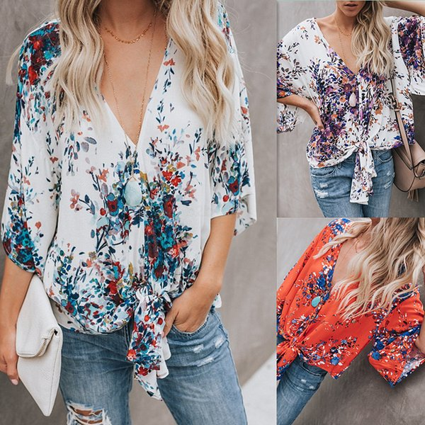 chemises en mousseline de soie florales pour femmes d'été en vrac à manches courtes col V chemise imprimée noeud manches chauve-souris sexy lady casual T-shirt Tops Tee Tee LJJA2473