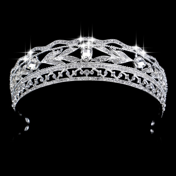 wedding party 15x4cm tiaras beaded flower leaf headwear of bride crown diamond headwear for bride acting initiation graduation rs-35 - from $14.38
