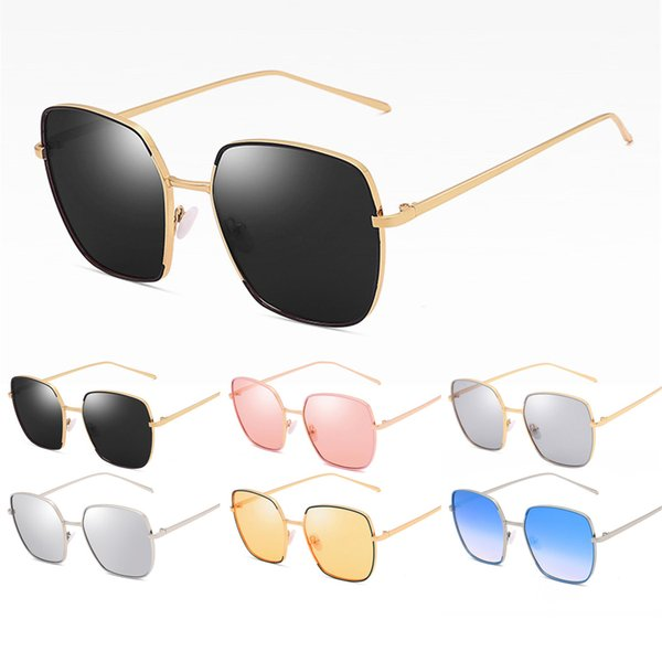 Summer Women Fashion Polycarbonate Lenses Sunglasses Wrap Metal Frame Glasses UV400 Protection Reflective Sunglasses