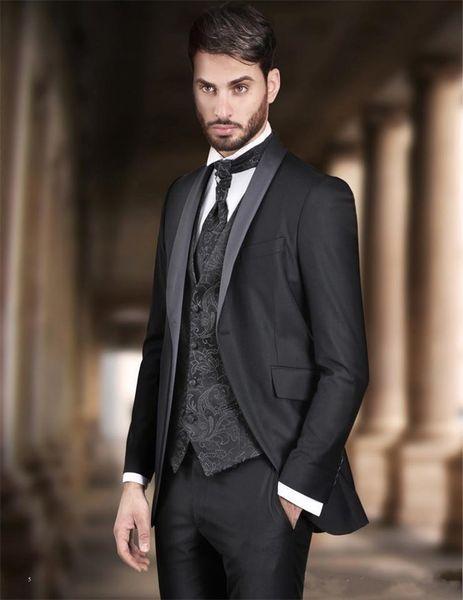 New Stylish Design One Button Black Groom Tuxedos Shawl Lapel Groomsmen Best Man Suits Mens Wedding Suits (Jacket+Pants+Vest+Tie) 910