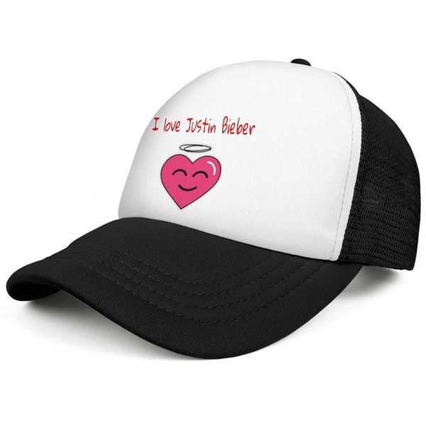 I Love Justin Bieber Cute Black Mens And Womens Personalized Ball Cap  Custom Fitted Fashion Mesh Cap Logo Trucker Hat Embroidered Hats Leather  Hats