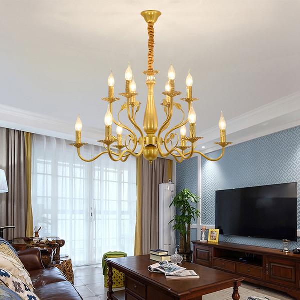 American Candle Chandeliers Living Room Bedroom Gold Black Chandelier  Lights Retro Restaurant Lamp Dining Room Creative