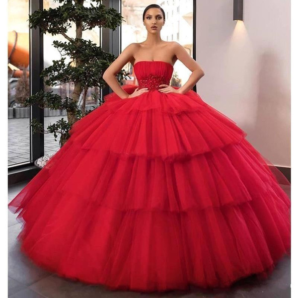 Red Lace Appliqued Ball Gown Prom Evening Dresses Luxury Layers Tulle Quinceanera Pageant Gown Long Formal Party Dresses