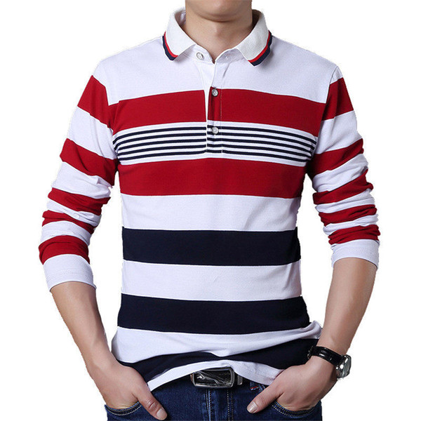 Browon Autumn Casual Men T-shirt White And Red Stripe Pattern Fitness Long Sleeve Turn-down Collar Cotton Tops Stripe Clothes