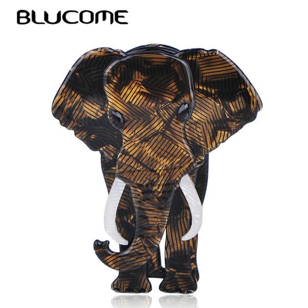 Broches Blucome Broche grande con forma de elefante Textura especial Joyas de acrílico para mujeres Niños Bufanda Bolso Ramillete Alfileres Accesorios de animales