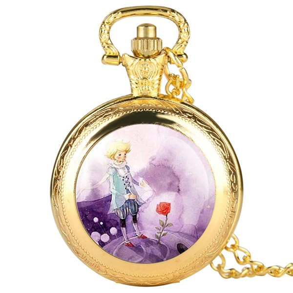 Fashion Silver Gold Bronze Little Prince Pocket Watch Rose Flower Necklace Pendant Fob Quartz Clock Chain Souvenir Gift for Kids
