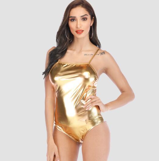 Haute Qualité enfants Dames Sexy Sling Sous-Vêtements Imitation En Cuir Verni Combinaison Femme Collants Discothèque Combinaison Gilet Femme