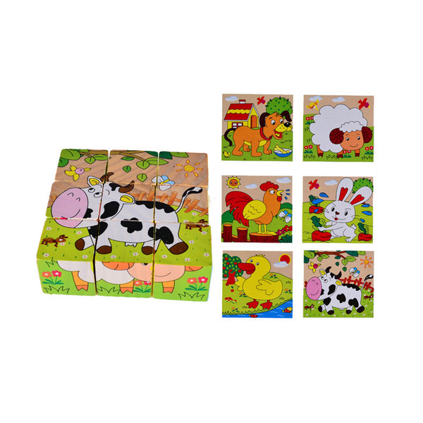 paintings black and white BOHS Children Kids Cartoon Six Sides Painting Blocks, Two in One, 1SET=9Parts=6Patterns