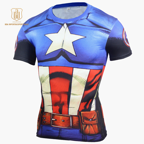 Avengers 4 Cosplay T-Shirt Super Men Batman 3D Printed Short Sleeve Mens Rashgard Gym Quick Dry Tees Clothing