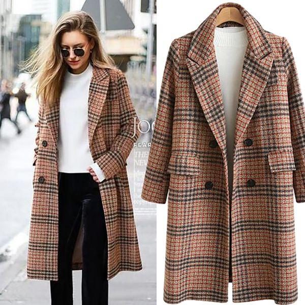 Sonbahar Kış Elbise Blazer Kadınlar 2018 Resmi Yün Karışımları Ceket Ceket Çalışma Ofisi Lady Artı Boyutu Uzun Kollu Blazer ukrayna 4XL