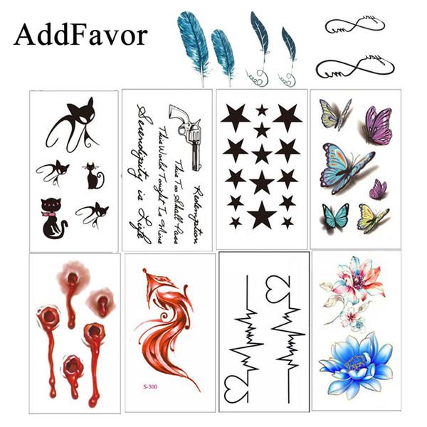 Addfavor 5 stücke Black Letter Temporäre Tätowierung Aufkleber Wasserdichte Gefälschte Tätowierung Körper Arm Art Transfer Zeichnung Tattoos Schönheit Werkzeuge