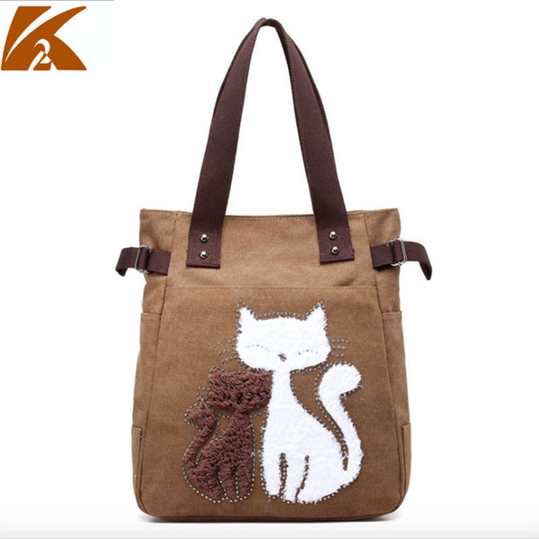 2019 Cartoon Cats Printed Beach Zipper Bag Bolsa Feminina Canvas Tote Shopping Handbags Sac A Main Femme De Marque