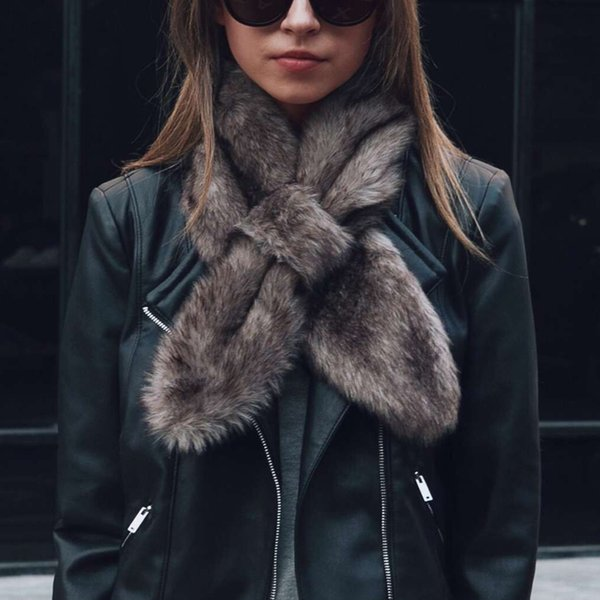 Hot Sale Women's Winter Warm Faux Fur Collar Scarfs Black/White/Gray/Leopard Neck Ring Female Chic Shawl Christmas Gifts 6Q0238 D19011003