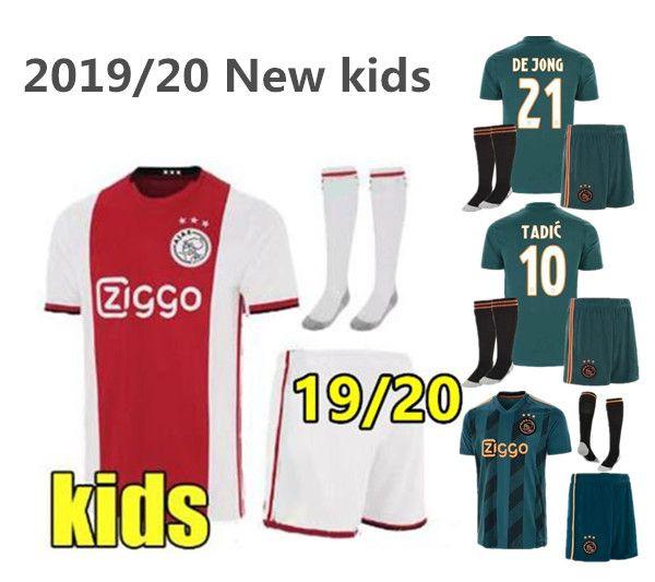 2019 2020 Ajax FC Fußball Trikots Heim weiß und rot Kinder Trikots Auswärts grün 19 20 # 7 NERES # 10 TADIC # 4 DE LIGT # 22 ZIYECH Fußball Trikot
