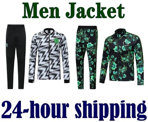 top popular 2018 2019 2020 Nigeria Tribute Men Soccers jacket Soccer Sets Tracksuits Green Trainings 18 19 Nigerian Footballs' Suits coat 2019