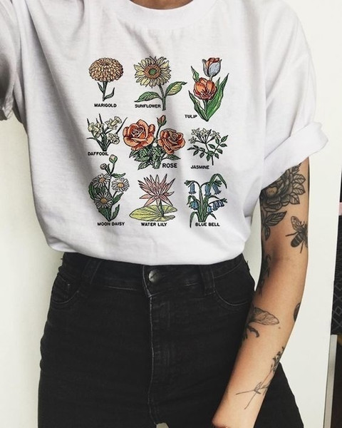 Hahayule Hjn Women Tumblr Vintage Fashion Футболка с цветочным рисунком Симпатичные Эстетичные футболки с принтом в виде гранж Подсолнух розовая рубашка Y19051301