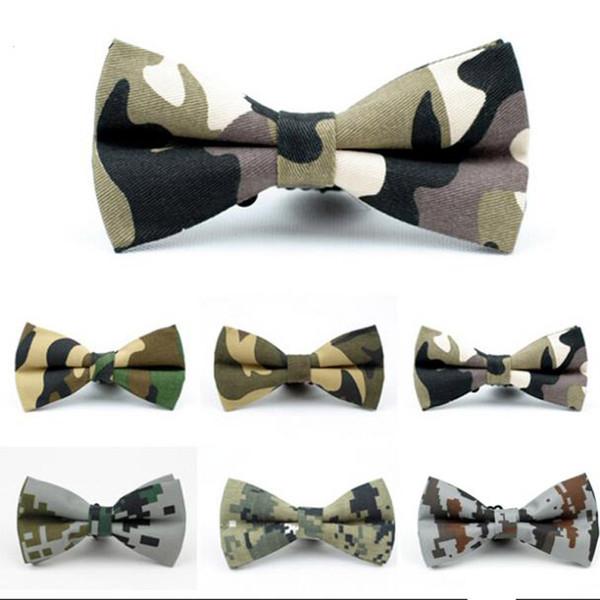 KR990 Ajustable de algodón de los hombres pajarita Hombre arcos Lazos Camuflaje Esmoquin Fiesta Boda Mariposa Envío de la gota de cumpleaños Corbata
