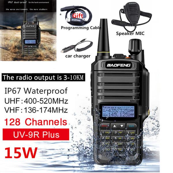 15W 10KM Baofeng UV-9R Plus Walkie Talkies VHF UHF Dual Band Palmare Radio bidirezionale Impermeabile FM Ricetrasmettitore digitale protetto