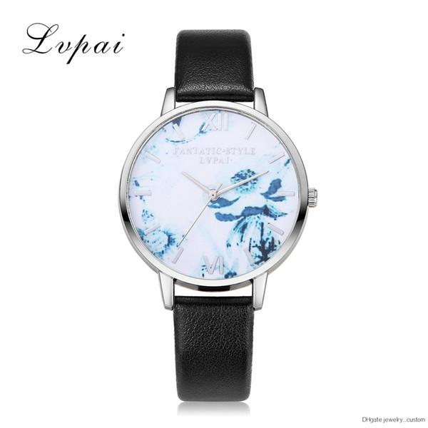 Silber Blumen Damenmode Uhren Neuheiten Damenuhren Uhren Uhren Leder Viertel Uhren