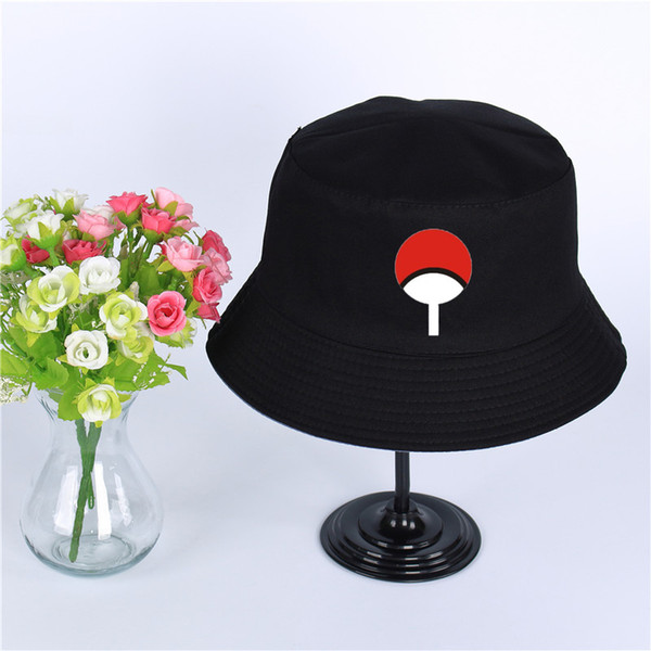 Anime Naruto Akatsuki Red Cloud Uchiha Family Logo Hat Women Mens Panama Bucket Hat Uchiha Family Design Fishing Fisherman Hat