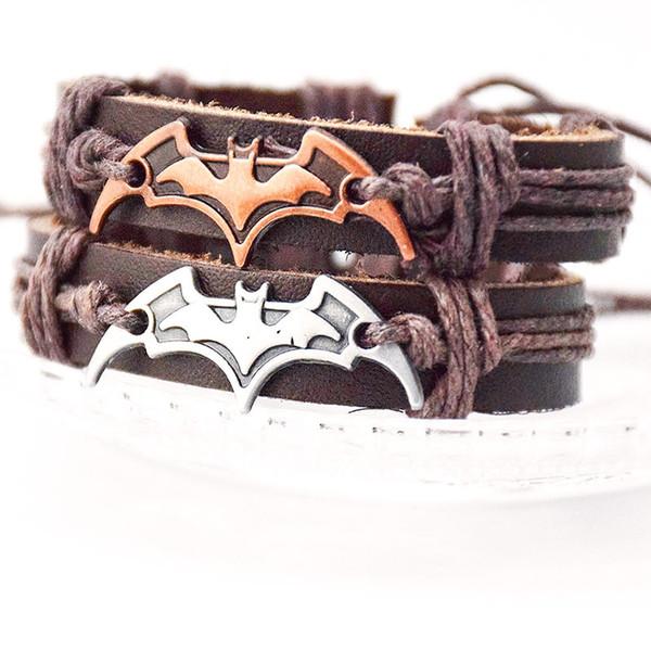 Batman Bracelet Super Hero Batman Dart Bracelet Leather Adjustable Bracelets Bangle Cuffs Fashion Jewelry Valentine Gift Drop Shipping