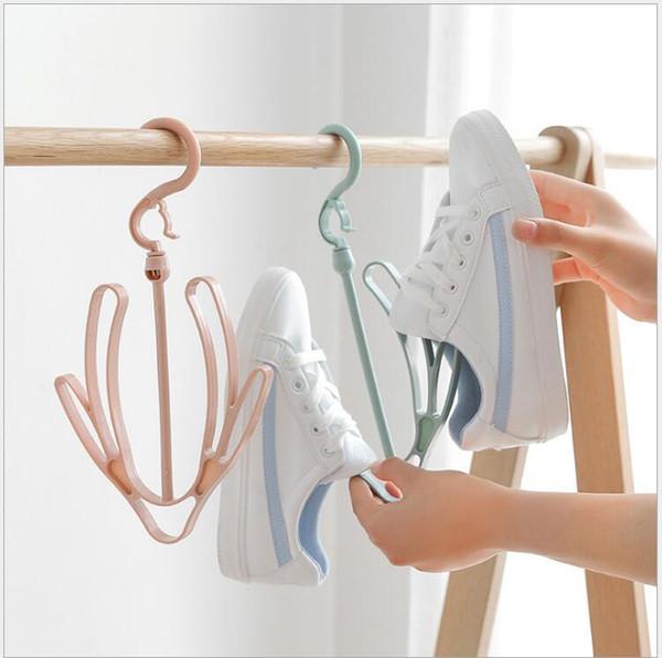 Zapatos de plástico Estante de secado Rosa Verde Azul Zapatos Colgando Estante de almacenamiento Estante de secado Zapato Estante Soporte de la suspensión Organizador Envío gratis