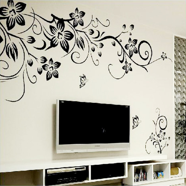 Hot DIY Wall Art Decal Decoration Fashion Romantic Flower Wall Sticker/ Wall Stickers Home Decor 3D Wallpaper Free Shipping free shipping